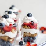 Double Berry Parfait with Vanilla Cake + Whipped Coconut Cream