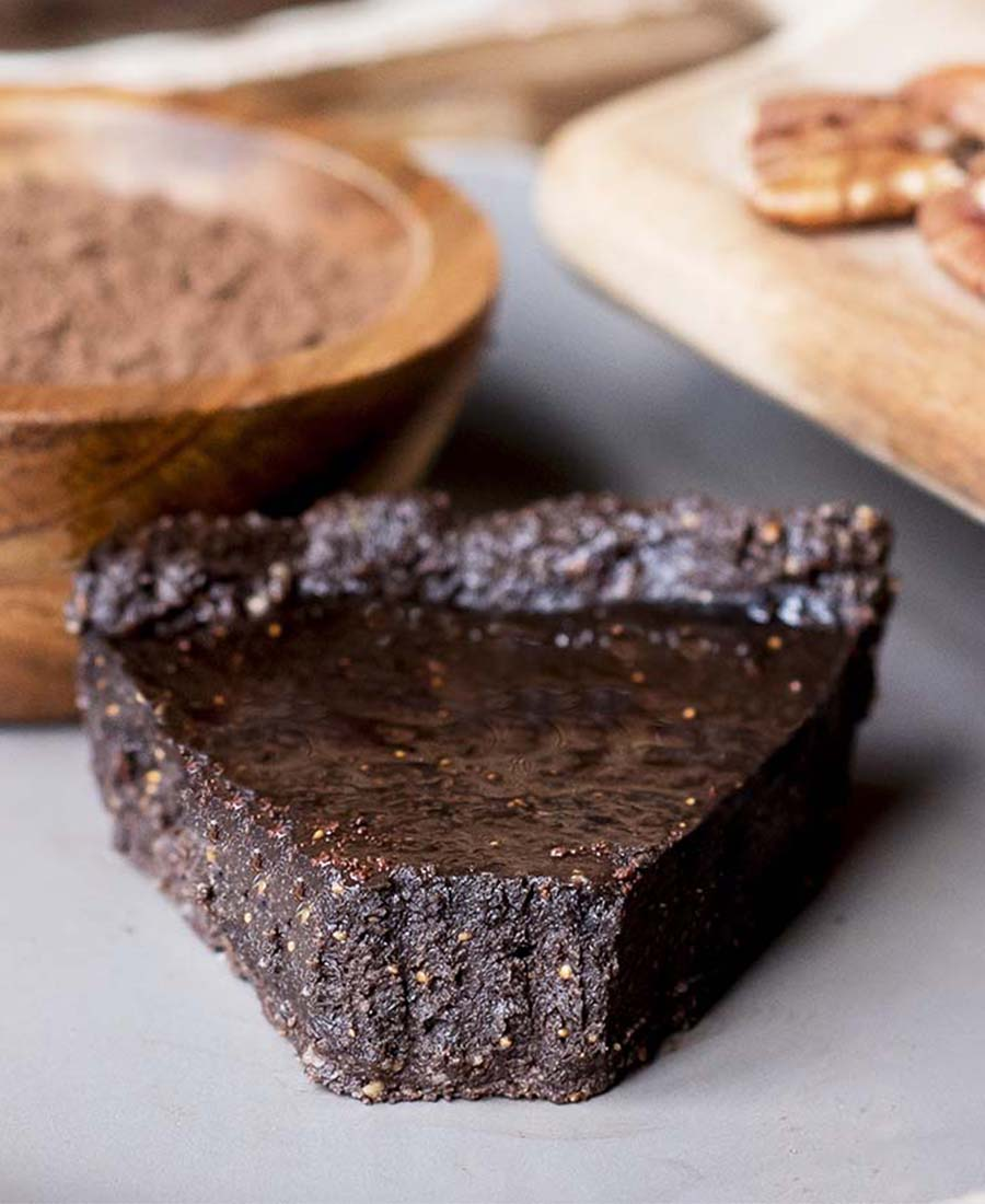 Chocolate Chess Pie with Pecan Crust