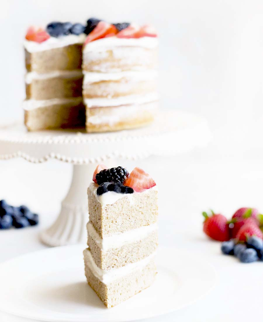 Healthy Berry Vanilla Naked Cake