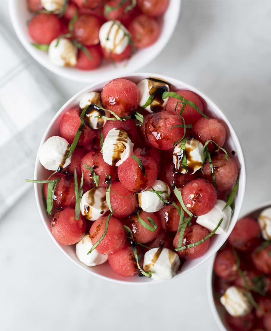 Watermelon Basil Salad with Mozzarella + Balsamic Glaze