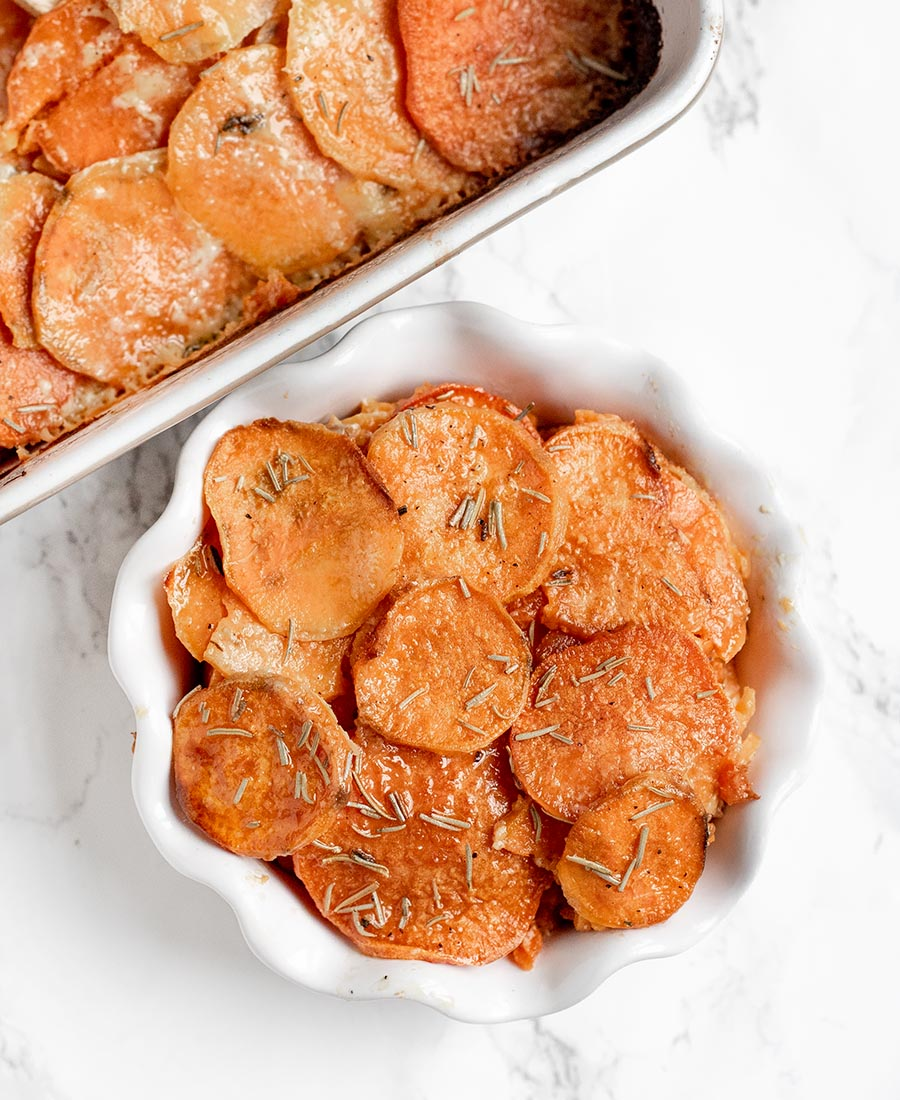 Creamy Rosemary Scalloped Sweet Potatoes
