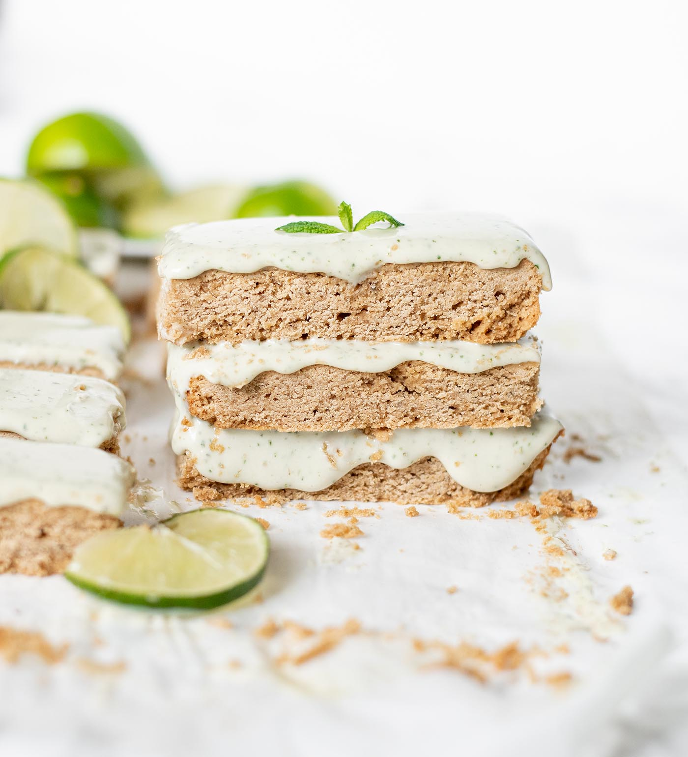 gluten free lime sugar cookie bars with homemade mint icing 3