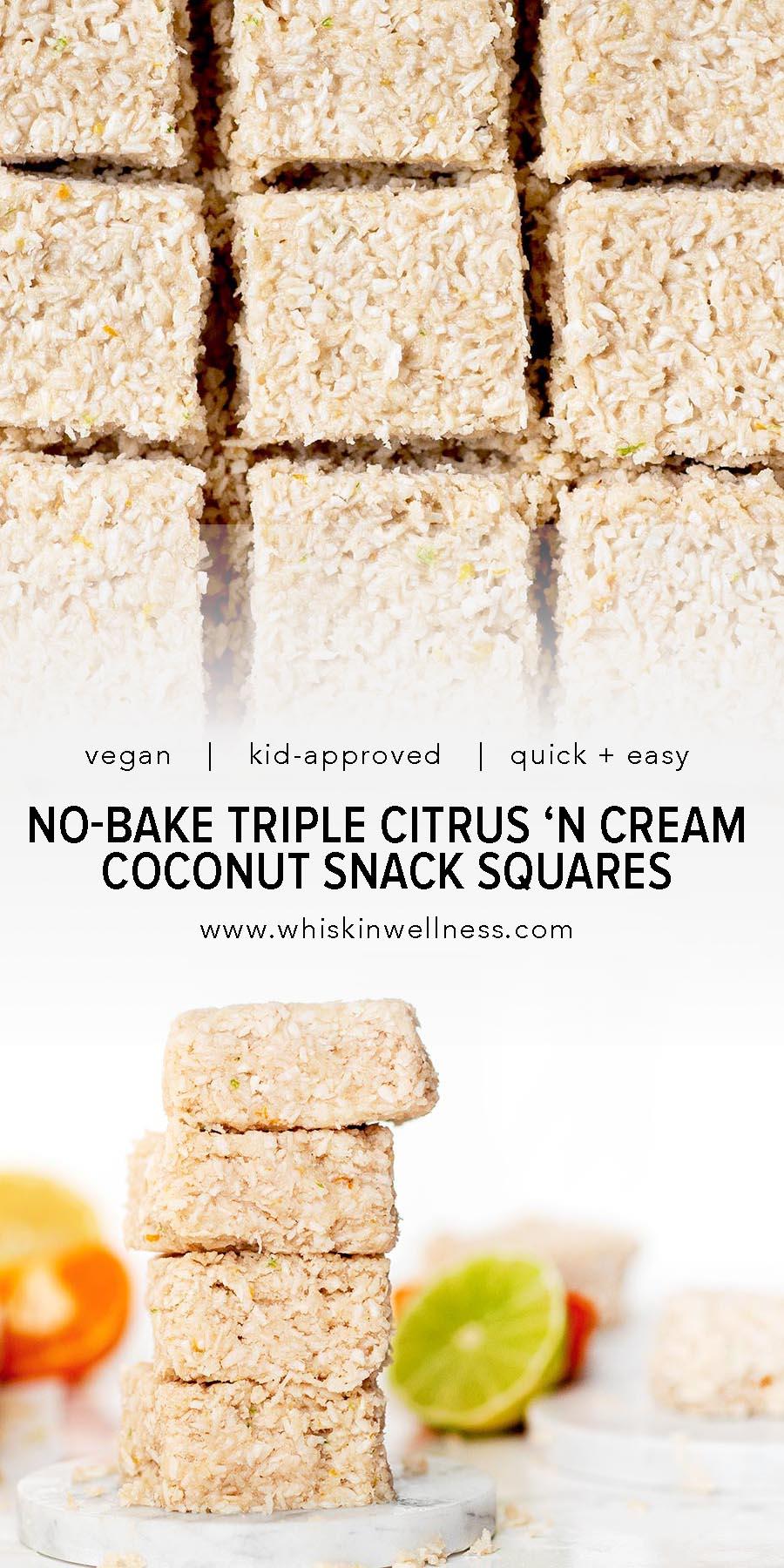 no bake triple citrust coconut snack squares pintrest wiw