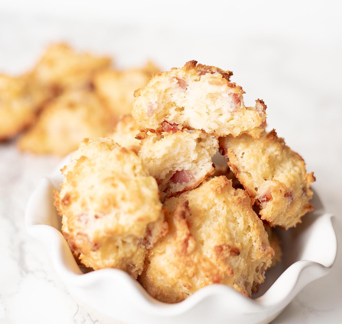 gluten free cheesy ham drop biscuits whisk in wellness1