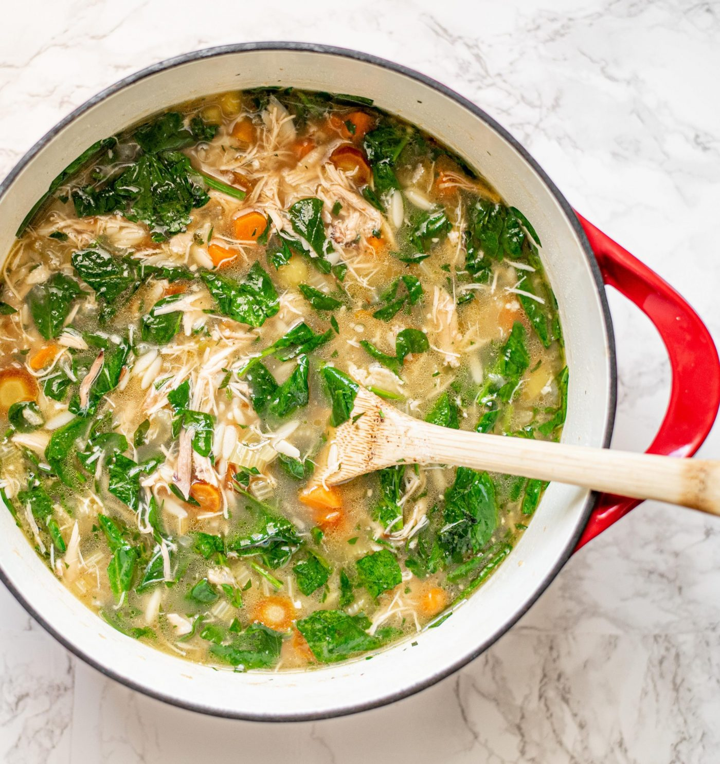 lemony chicken and spinach orzo soup 3 scaled e1614584895283