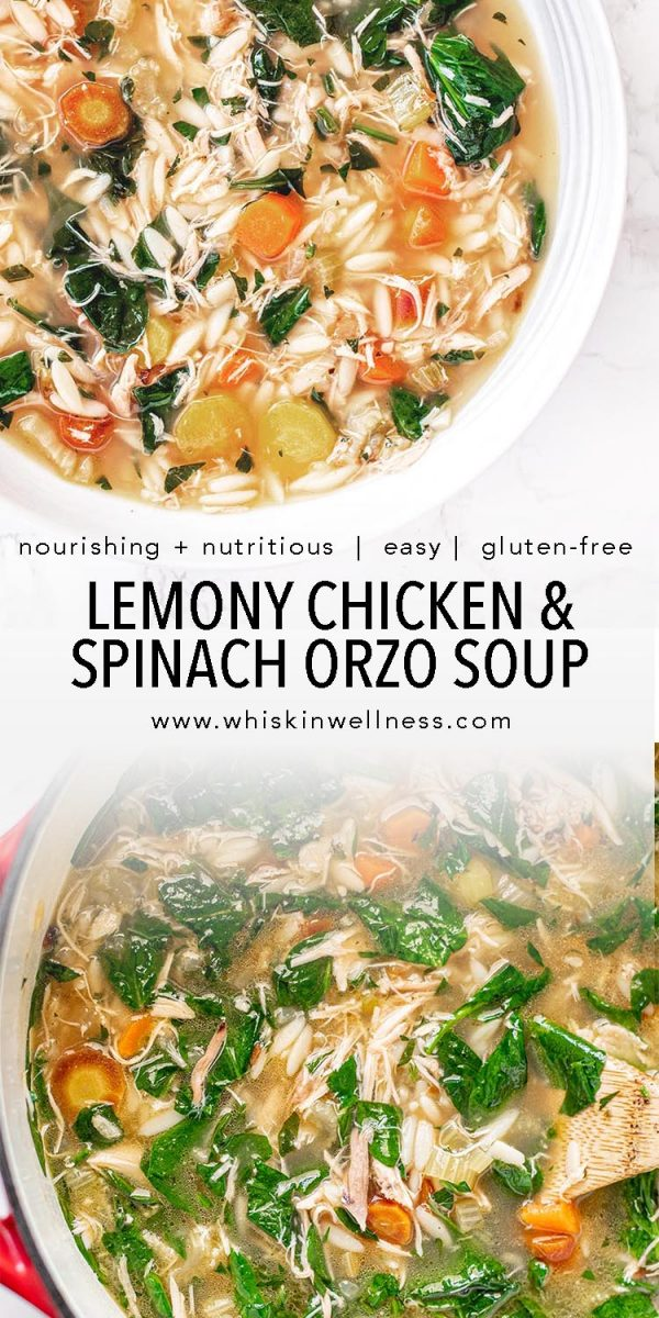 lemony chicken and spinach orzo soup whisk in wellness pinterest e1614584880400