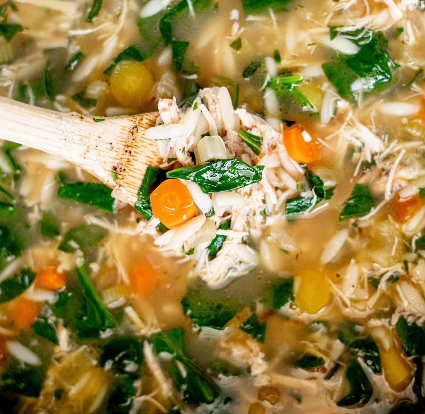 lemony chicken and spinach orzo soup6 scaled e1614584838729
