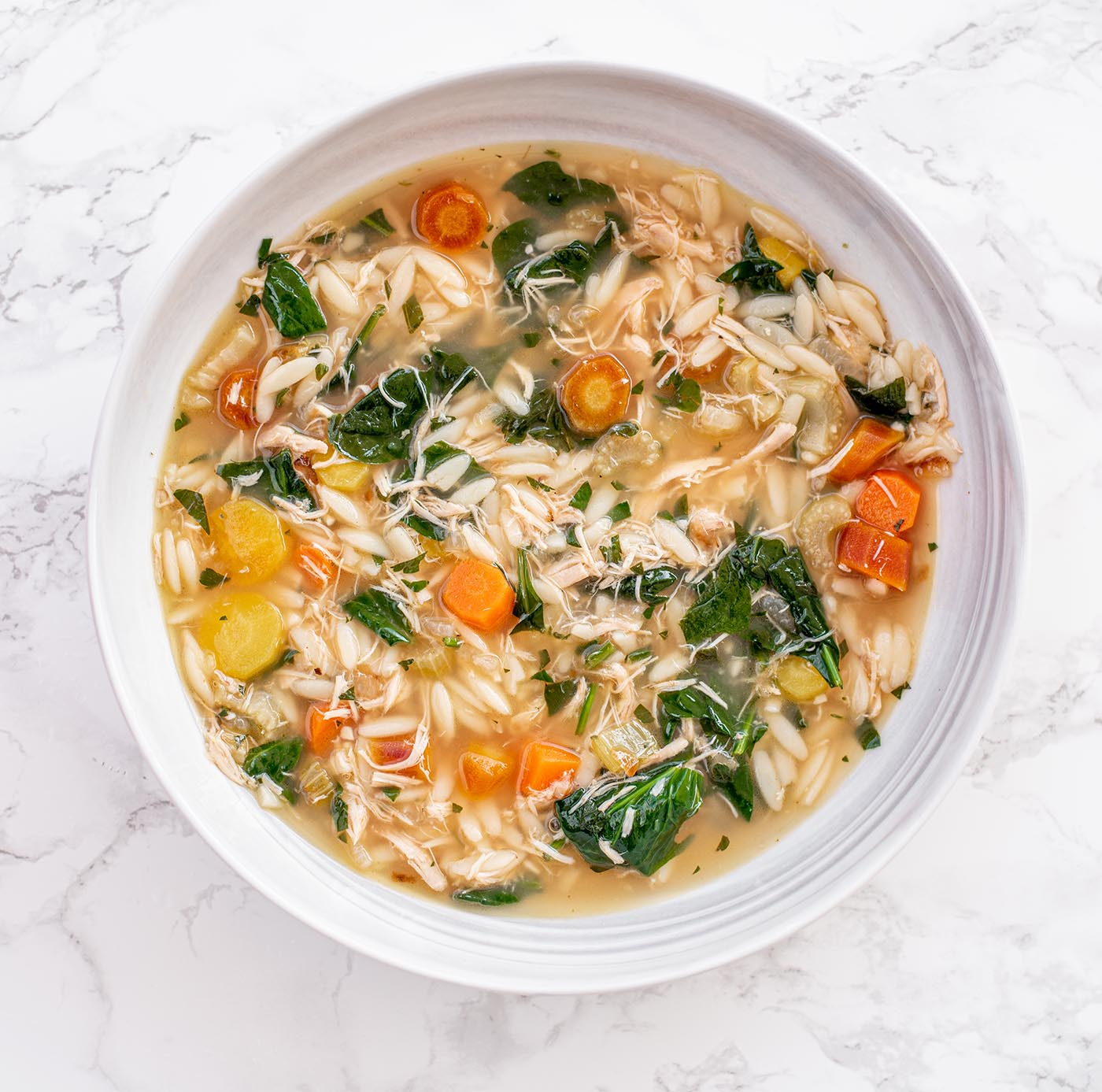 lemony chicken and spinach orzo soup7