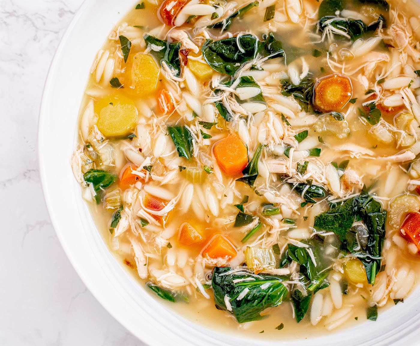 lemony chicken and spinach orzo soup8