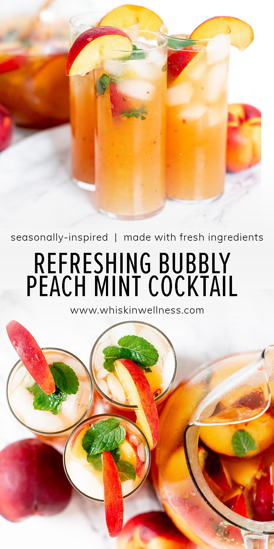 refreshing and bubbly peach mint summer cocktail pinterest wiw