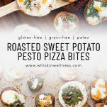 roasted sweet potato pesto pizza bites whisk in wellness pinterest
