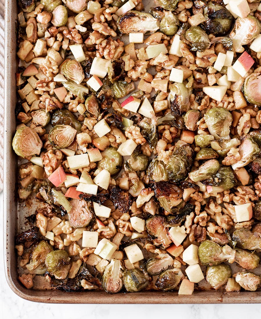 sweet and smokey honey roasted brussels sprouts with apples and walnuts whisk in wellness 5