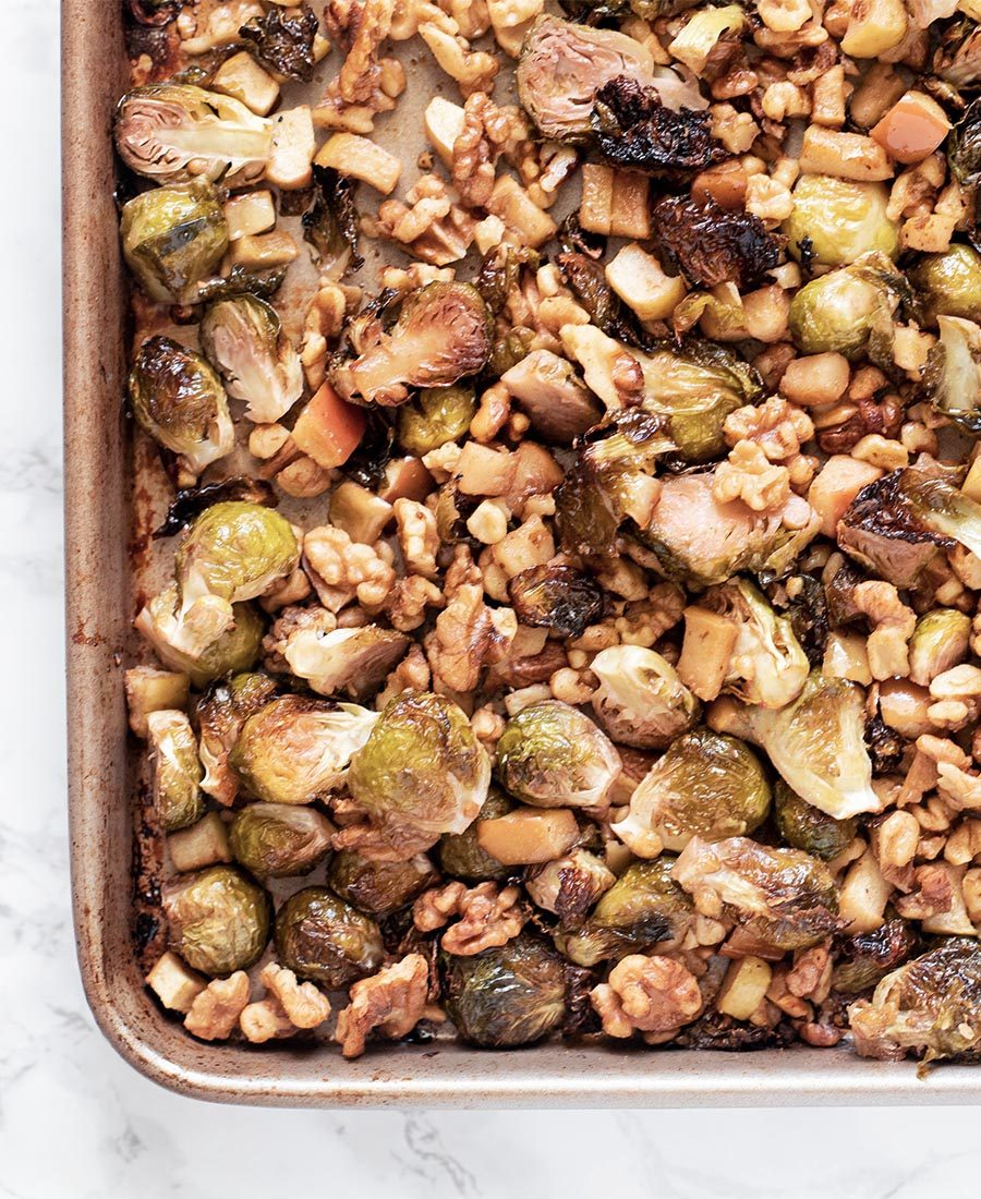 sweet and smokey honey roasted brussels sprouts with apples and walnuts whisk in wellness 8 featured